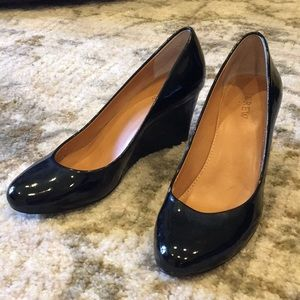 J.Crew Black Patent Leather Wedges